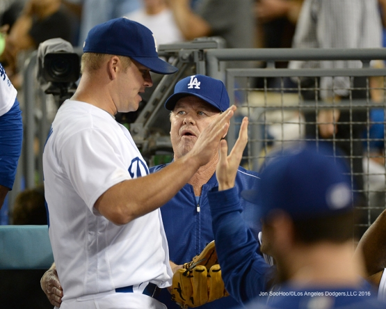 Los Angeles Dodgers Joe Blanton and Rck Honeycutt  during game against the San Francisco Giants Wednesday, August 24, 2016 at Dodger Stadium in Los Angeles,California. Photo by Jon SooHoo/©Los Angeles Dodgers,LLC 2016