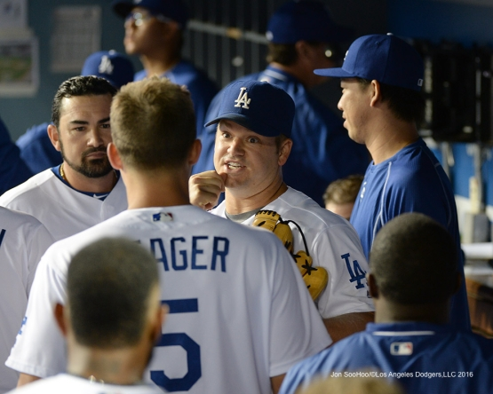 Los Angeles Dodgers Joe Blanton and teammates during game against the San Francisco Giants Wednesday, August 24, 2016 at Dodger Stadium in Los Angeles,California. Photo by Jon SooHoo/©Los Angeles Dodgers,LLC 2016