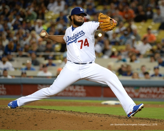 Kenley Jansen during game against the San Francisco Giants Wednesday, August 24, 2016 at Dodger Stadium in Los Angeles,California. Photo by Jon SooHoo/©Los Angeles Dodgers,LLC 2016
