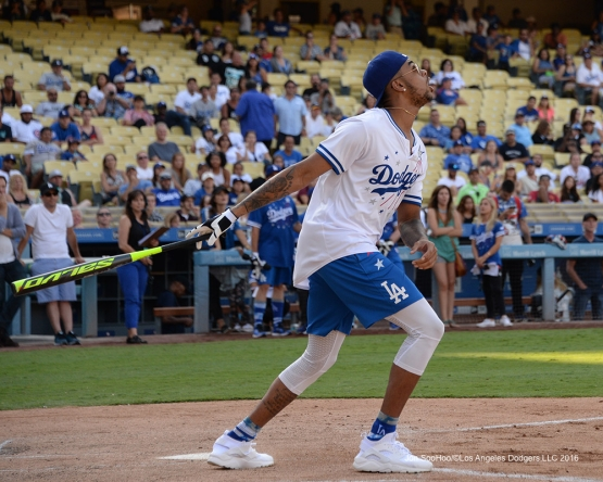 Laker D'Angelo Russell during the Hollywood Stars Game Saturday, August 27 2016 at Dodger Stadium in Los Angeles,California. Photo by Jon SooHoo/©Los Angeles Dodgers,LLC 2016