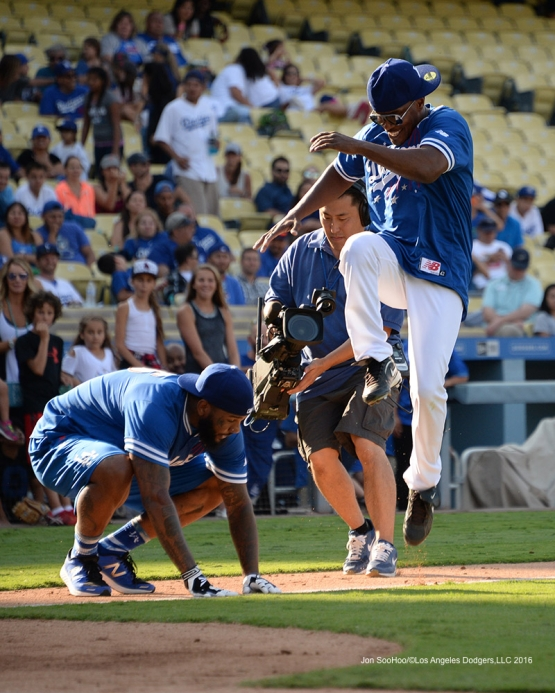 Jamie Foxx during the Hollywood Stars Game Saturday, August 27 2016 at Dodger Stadium in Los Angeles,California. Photo by Jon SooHoo/©Los Angeles Dodgers,LLC 2016