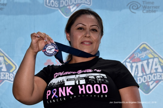 Los Angeles Dodgers Community Hero Isabel Guilen, of Chavelyta's Pink Hood Foundation, is honored prior to game against the Arizona Diamondbacks Sunday, July 31,12016 at Dodger Stadium in Los Angeles,California. Photo by Jon SooHoo/©Los Angeles Dodgers,LLC 2016