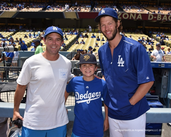 Great Los Angeles Dodgers fans pose with Clayton Kershaw prior to game against the Arizona Diamondbacks Sunday, July 31,12016 at Dodger Stadium in Los Angeles,California. Photo by Jon SooHoo/©Los Angeles Dodgers,LLC 2016