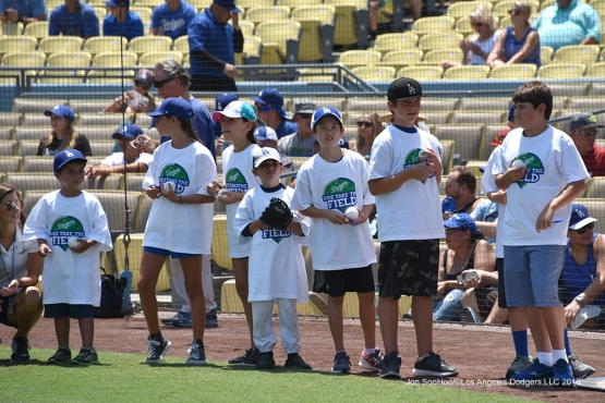 Kids taking the field prior to game against the Arizona Diamondbacks Sunday, July 31,12016 at Dodger Stadium in Los Angeles,California. Photo by Jon SooHoo/©Los Angeles Dodgers,LLC 2016