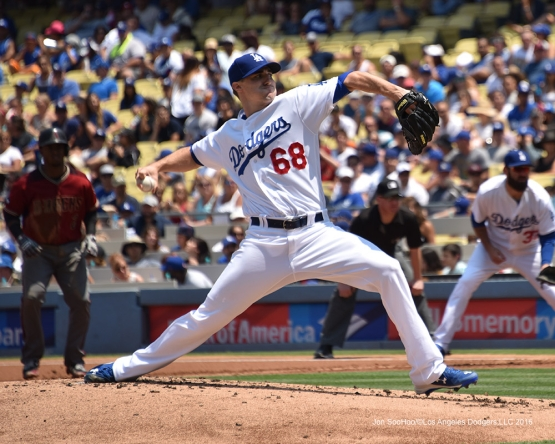 Los Angeles Dodgers Ross Stripling during game against the Arizona Diamondbacks Sunday, July 31,12016 at Dodger Stadium in Los Angeles,California. Photo by Jon SooHoo/©Los Angeles Dodgers,LLC 2016