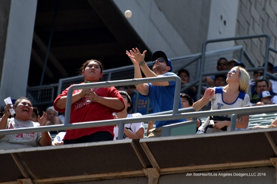 Great catch by Los Angeles Dodger fan during game against the Arizona Diamondbacks Sunday, July 31,12016 at Dodger Stadium in Los Angeles,California. Photo by Jon SooHoo/©Los Angeles Dodgers,LLC 2016