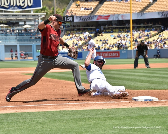 Scott Van Slyke is out at third during game against the Arizona Diamondbacks Sunday, July 31,12016 at Dodger Stadium in Los Angeles,California. Photo by Jon SooHoo/©Los Angeles Dodgers,LLC 2016