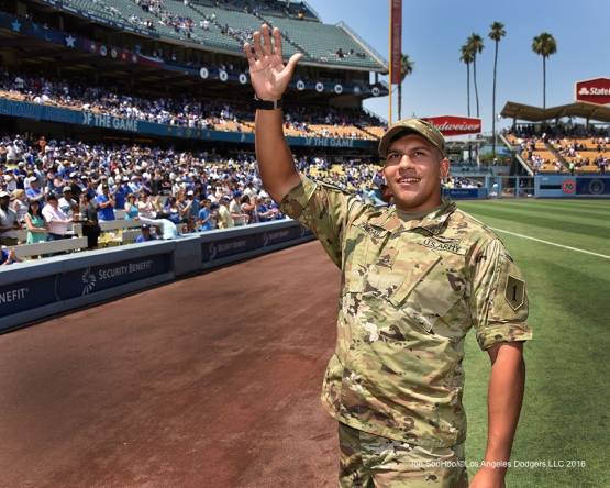 Los Angeles Dodgers Military Hero of the Game, U.S. Army Sergeant Dean Karate honored during game against the Arizona Diamondbacks Sunday, July 31,12016 at Dodger Stadium in Los Angeles,California. Photo by Jon SooHoo/©Los Angeles Dodgers,LLC 2016