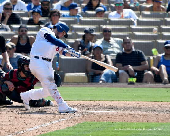 Yasmani Grandal homers during game against the Arizona Diamondbacks Sunday, July 31,12016 at Dodger Stadium in Los Angeles,California. Photo by Jon SooHoo/©Los Angeles Dodgers,LLC 2016