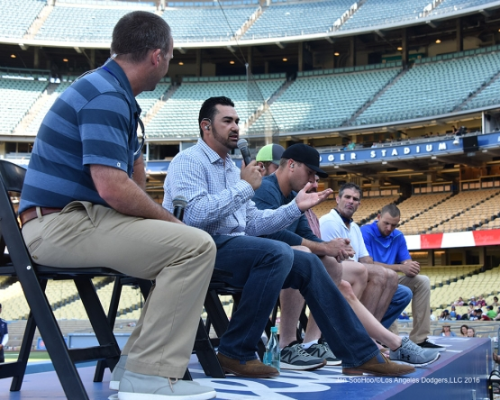 Adrian Gonzalez during Faith and Family Day after game against the Arizona Diamondbacks Sunday, July 31,12016 at Dodger Stadium in Los Angeles,California. Photo by Jon SooHoo/©Los Angeles Dodgers,LLC 2016