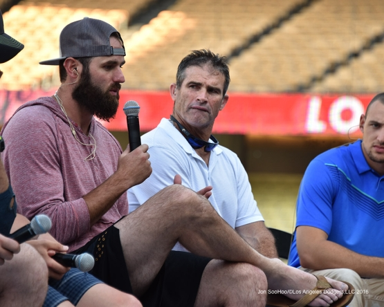 Scott Van Slyke during Faith and Family Day after game against the Arizona Diamondbacks Sunday, July 31,12016 at Dodger Stadium in Los Angeles,California. Photo by Jon SooHoo/©Los Angeles Dodgers,LLC 2016