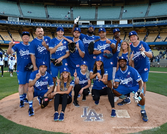 Winning Blue Team after the Hollywood Stars Game Saturday, August 27 2016 at Dodger Stadium in Los Angeles,California. Photo by Jon SooHoo/©Los Angeles Dodgers,LLC 2016