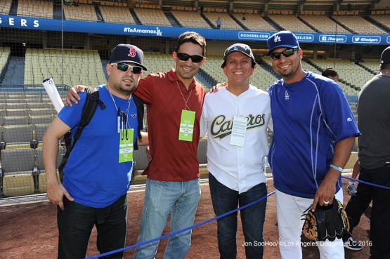 Great Los Angeles Dodgers fans pose with coach Juan Castro prior to game against the Boston Red Sox Friday, August 5, 2016 at Dodger Stadium in Los Angeles,California. Photo by Jon SooHoo/©Los Angeles Dodgers,LLC 2016