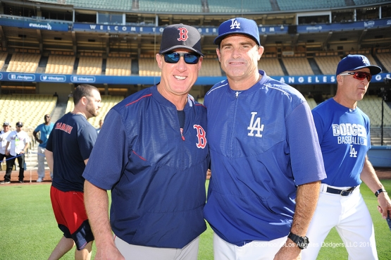 Turner Ward poses with Brian Butterfield prior to game against the Boston Red Sox Friday, August 5, 2016 at Dodger Stadium in Los Angeles,California. Photo by Jon SooHoo/©Los Angeles Dodgers,LLC 2016
