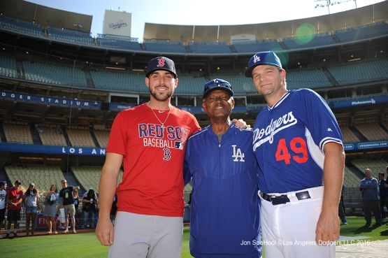 Manny Mota and Tim Hyers pose with Travis Shaw Friday, August 5, 2016 at Dodger Stadium in Los Angeles,California. Photo by Jon SooHoo/©Los Angeles Dodgers,LLC 2016