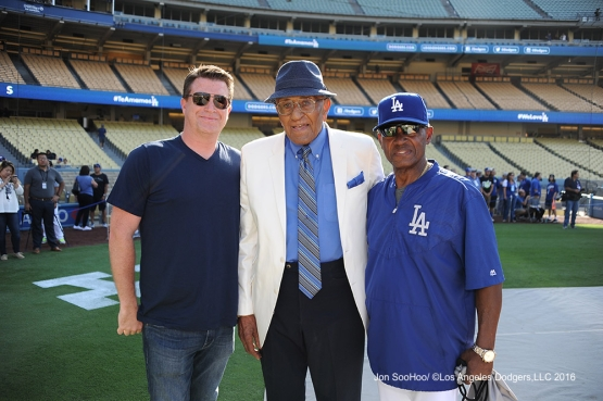 Don Newcombe and Manny Mota pose prior to game against the Boston Red Sox Friday, August 5, 2016 at Dodger Stadium in Los Angeles,California. Photo by Jon SooHoo/©Los Angeles Dodgers,LLC 2016
