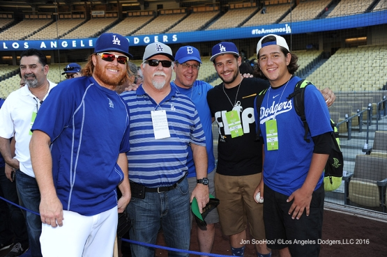 Justin Turner poses with his dad and guests prior to game against the Boston Red Sox Friday, August 5, 2016 at Dodger Stadium in Los Angeles,California. Photo by Jon SooHoo/©Los Angeles Dodgers,LLC 2016