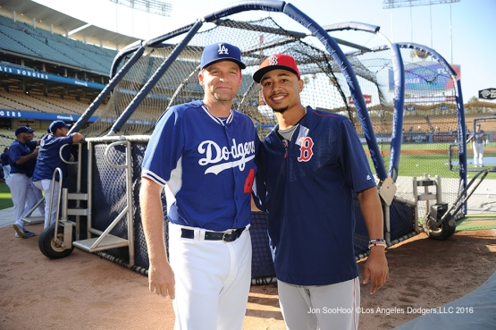 Coach Tim Hyers poses with Mookie Betts prior to game against the Boston Red Sox Friday, August 5, 2016 at Dodger Stadium in Los Angeles,California. Photo by Jon SooHoo/©Los Angeles Dodgers,LLC 2016