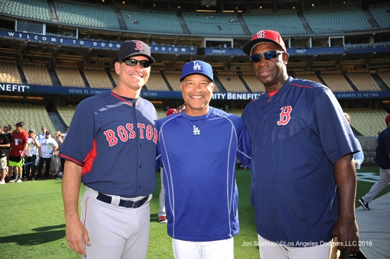 Dave Roberts poses with Torey Lovullo and Chili Davis prior to game against the Boston Red Sox Friday, August 5, 2016 at Dodger Stadium in Los Angeles,California. Photo by Jon SooHoo/©Los Angeles Dodgers,LLC 2016