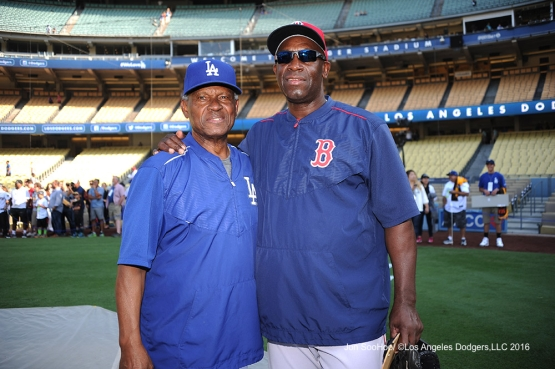 Manny Mota and Chili Davis prior to game against the Boston Red Sox Friday, August 5, 2016 at Dodger Stadium in Los Angeles,California. Photo by Jon SooHoo/©Los Angeles Dodgers,LLC 2016