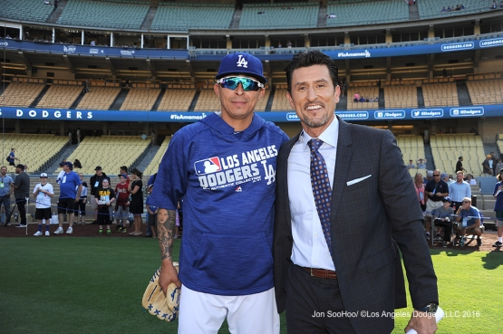 Jesse Chavez and Nomar Garciaparra prior to game against the Boston Red Sox Friday, August 5, 2016 at Dodger Stadium in Los Angeles,California. Photo by Jon SooHoo/©Los Angeles Dodgers,LLC 2016