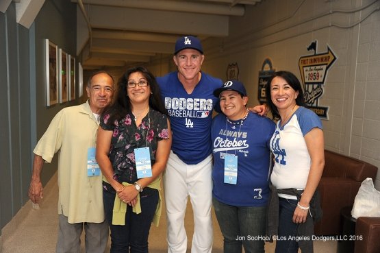 Chase Utley poses with his guests prior to game against the Boston Red Sox Friday, August 5, 2016 at Dodger Stadium in Los Angeles,California. Photo by Jon SooHoo/©Los Angeles Dodgers,LLC 2016