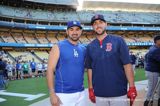 Adrian Gonzalez and Travis Shaw prior to game against the Boston Red Sox Friday, August 5, 2016 at Dodger Stadium in Los Angeles,California. Photo by Jon SooHoo/©Los Angeles Dodgers,LLC 2016