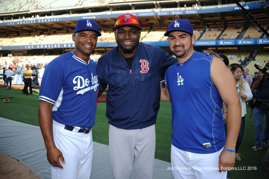 George Lombard, Adrian Gonzalez and David Ortiz prior to game against the Boston Red Sox Friday, August 5, 2016 at Dodger Stadium in Los Angeles,California. Photo by Jon SooHoo/©Los Angeles Dodgers,LLC 2016