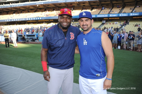 Adrian Gonzalez and David Ortiz prior to game against the Boston Red Sox Friday, August 5, 2016 at Dodger Stadium in Los Angeles,California. Photo by Jon SooHoo/©Los Angeles Dodgers,LLC 2016