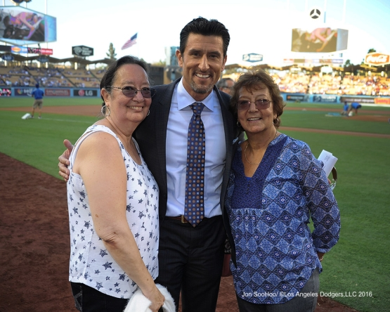 Nomar Garciaparra and family pose prior to game against the Boston Red Sox Friday, August 5, 2016 at Dodger Stadium in Los Angeles,California. Photo by Jon SooHoo/©Los Angeles Dodgers,LLC 2016