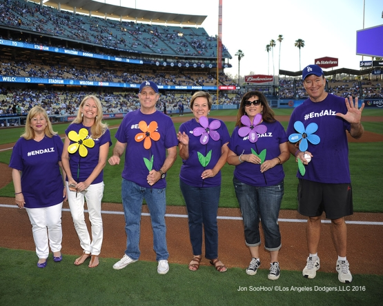 Members of Alzheimers Association of California are honored prior to Los Angeles Dodgers game against the Boston Red Sox Friday, August 5, 2016 at Dodger Stadium in Los Angeles,California. Photo by Jon SooHoo/©Los Angeles Dodgers,LLC 2016