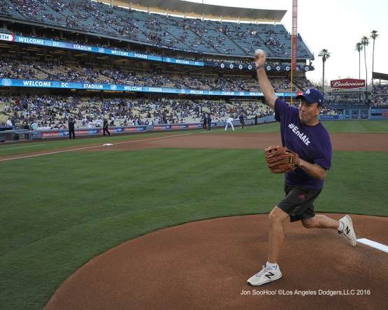 Alzheimers Association of California member Ray Wells throws out the first pitch prior to game against the Boston Red Sox Friday, August 5, 2016 at Dodger Stadium in Los Angeles,California. Photo by Jon SooHoo/©Los Angeles Dodgers,LLC 2016