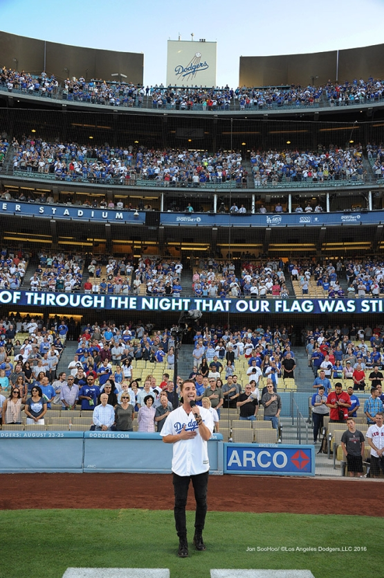 American Idol winner Nick Fradiani sings the national anthem prior to game against the Boston Red Sox Friday, August 5, 2016 at Dodger Stadium in Los Angeles,California. Photo by Jon SooHoo/©Los Angeles Dodgers,LLC 2016