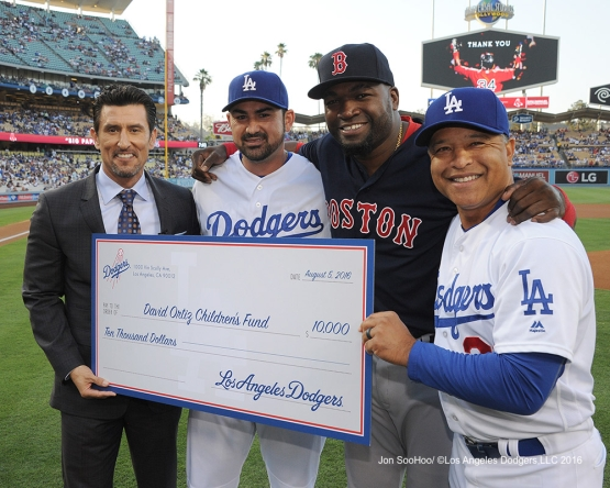 Los Angeles Dodgers honor David Ortiz during game against the Boston Red Sox Friday, August 5, 2016 at Dodger Stadium in Los Angeles,California. Photo by Jon SooHoo/©Los Angeles Dodgers,LLC 2016