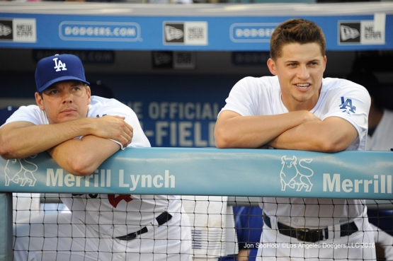 Rich Hill and Corey Seager prior to game against the Boston Red Sox Friday, August 5, 2016 at Dodger Stadium in Los Angeles,California. Photo by Jon SooHoo/©Los Angeles Dodgers,LLC 2016