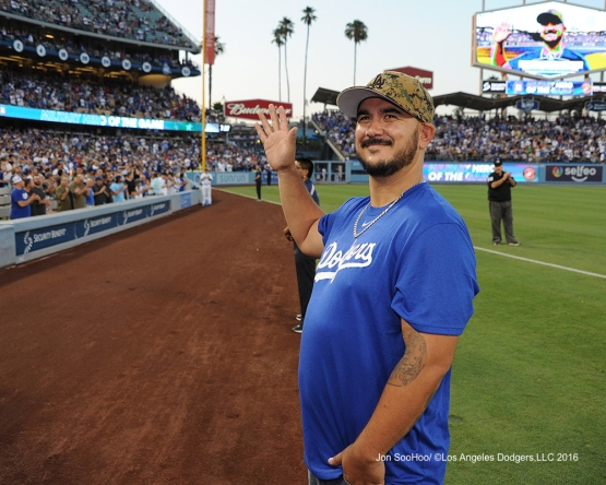 Los Angeles Dodgers Military Hero of the Game, U.S. Marine Corp Corporal, Cesar Castenada during game against the Boston Red Sox Friday, August 5, 2016 at Dodger Stadium in Los Angeles,California. Photo by Jon SooHoo/©Los Angeles Dodgers,LLC 2016