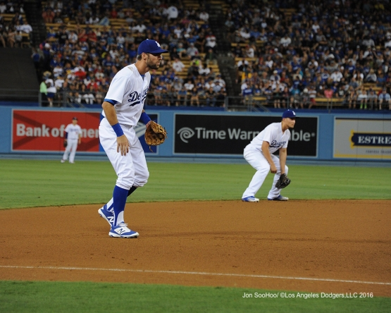 Chris Taylor and Corey Seager during game against the Boston Red Sox Friday, August 5, 2016 at Dodger Stadium in Los Angeles,California. Photo by Jon SooHoo/©Los Angeles Dodgers,LLC 2016