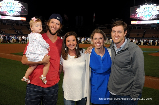 The Kershaws and guests after game against the Boston Red Sox Friday, August 5, 2016 at Dodger Stadium in Los Angeles,California. Photo by Jon SooHoo/©Los Angeles Dodgers,LLC 2016