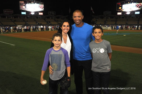 The Lombard family after game against the Boston Red Sox Friday, August 5, 2016 at Dodger Stadium in Los Angeles,California. Photo by Jon SooHoo/©Los Angeles Dodgers,LLC 2016