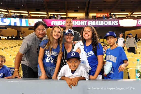 Great Los Angeles Dodger fans pose during game against the Boston Red Sox Friday, August 5, 2016 at Dodger Stadium in Los Angeles,California. Photo by Jon SooHoo/©Los Angeles Dodgers,LLC 2016