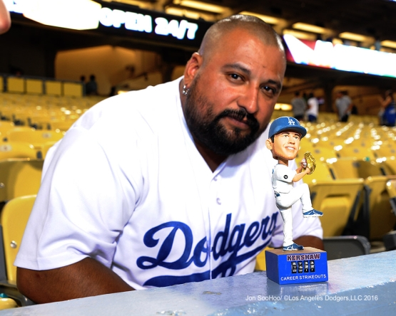 Great Los Angeles Dodger fan poses with his creation after game against the Boston Red Sox Friday, August 5, 2016 at Dodger Stadium in Los Angeles,California. Photo by Jon SooHoo/©Los Angeles Dodgers,LLC 2016