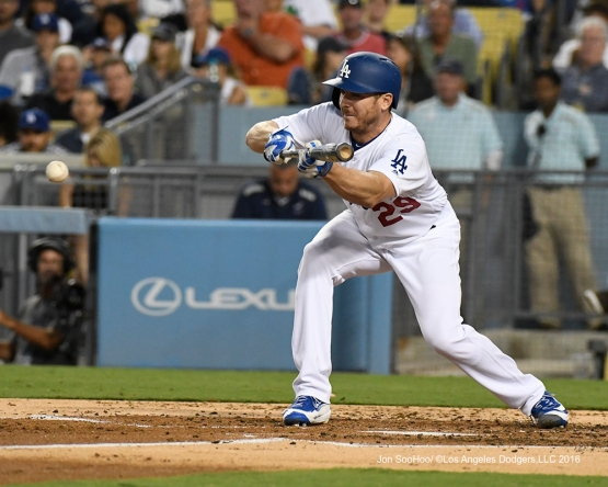 Los Angeles Dodgers Scott Kazmir bunts during game against the Boston Red Sox Friday, August 5, 2016 at Dodger Stadium in Los Angeles,California. Photo by Jon SooHoo/©Los Angeles Dodgers,LLC 2016