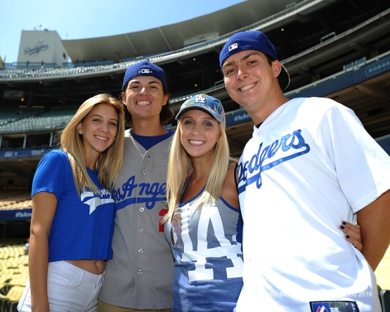 Great Los Angeles Dodger fans pose prior to game against the Boston Red Sox Saturday, August 6, 2016 at Dodger Stadium in Los Angeles,California. Photo by Jon SooHoo/©Los Angeles Dodgers,LLC 2016