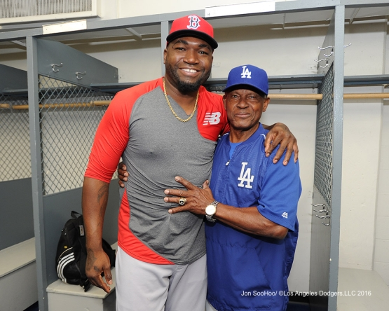 David Ortiz with Manny Mota prior to game against the Boston Red Sox Saturday, August 6, 2016 at Dodger Stadium in Los Angeles,California. Photo by Jon SooHoo/©Los Angeles Dodgers,LLC 2016