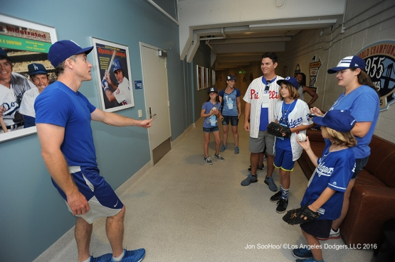 Chase Utley visits with guests prior to game against the Boston Red Sox Saturday, August 6, 2016 at Dodger Stadium in Los Angeles,California. Photo by Jon SooHoo/©Los Angeles Dodgers,LLC 2016