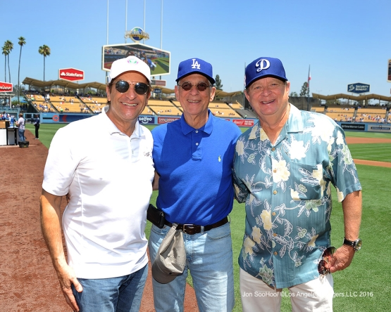 Peter Guber prior to game against the Boston Red Sox Saturday, August 6, 2016 at Dodger Stadium in Los Angeles,California. Photo by Jon SooHoo/©Los Angeles Dodgers,LLC 2016