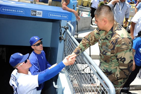 Los Angeles Dodgers Military Hero of the Game, US Army Specialist, Nestor Martinez meets Joc Pederson and Trayce Thompson during game against the Boston Red Sox Saturday, August 6, 2016 at Dodger Stadium in Los Angeles,California. Photo by Jon SooHoo/©Los Angeles Dodgers,LLC 2016
