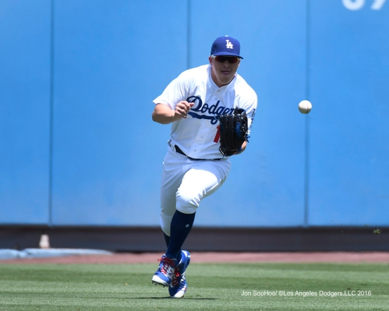Kike Hernandez during game against the Boston Red Sox Saturday, August 6, 2016 at Dodger Stadium in Los Angeles,California. Photo by Jon SooHoo/©Los Angeles Dodgers,LLC 2016