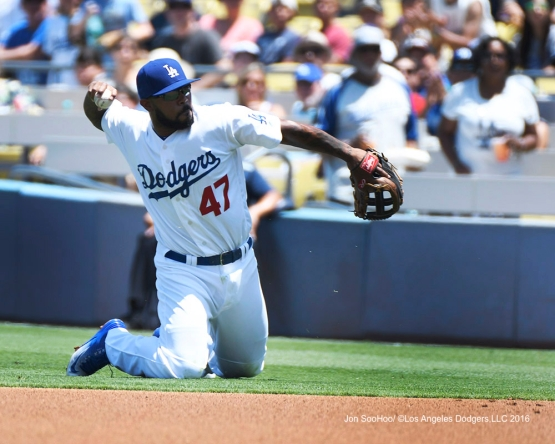 Howie Kendrick throws to first during game against the Boston Red Sox Saturday, August 6, 2016 at Dodger Stadium in Los Angeles,California. Photo by Jon SooHoo/©Los Angeles Dodgers,LLC 2016
