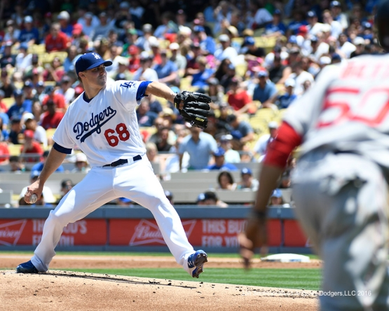 Ross Stripling during game against the Boston Red Sox Saturday, August 6, 2016 at Dodger Stadium in Los Angeles,California. Photo by Jon SooHoo/©Los Angeles Dodgers,LLC 2016